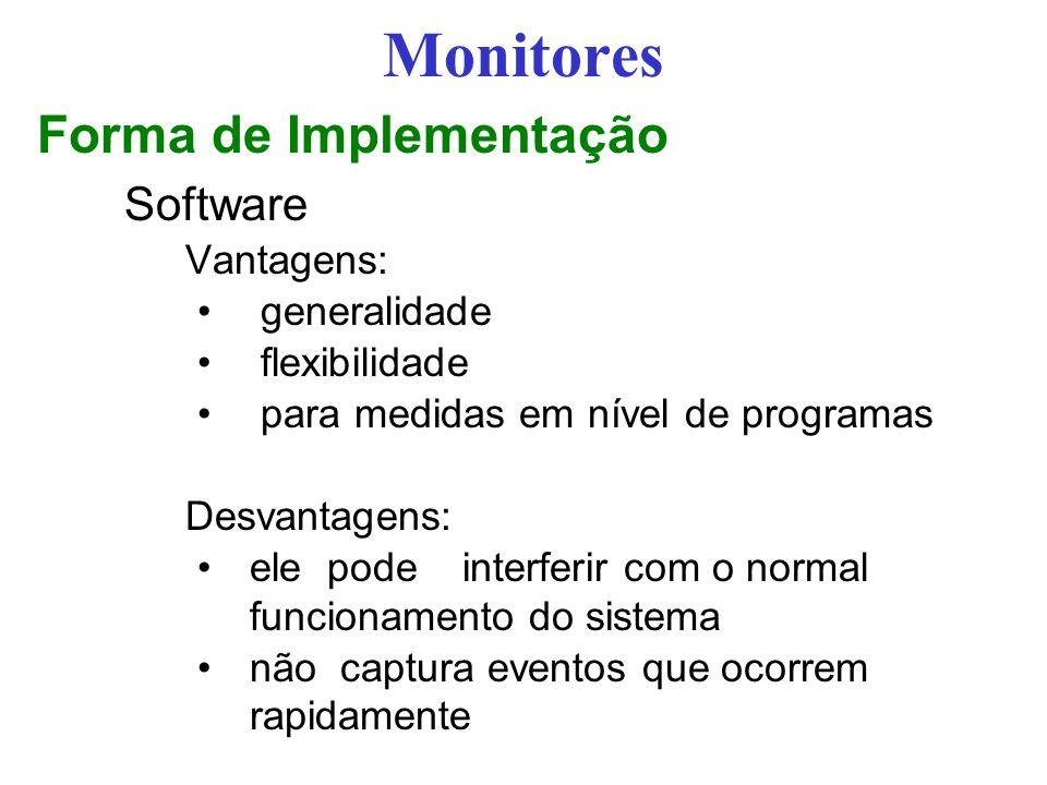 Monitores Forma de Implementação Software Vantagens: generalidade
