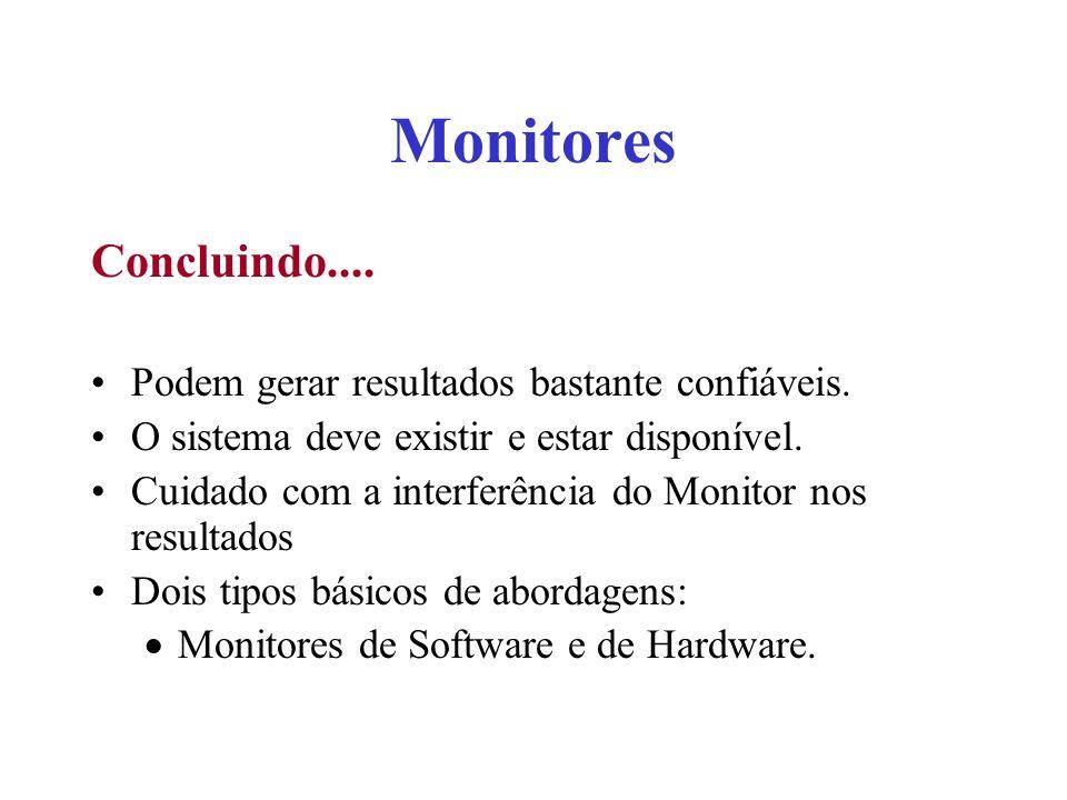 Monitores Concluindo.... Podem gerar resultados bastante confiáveis.