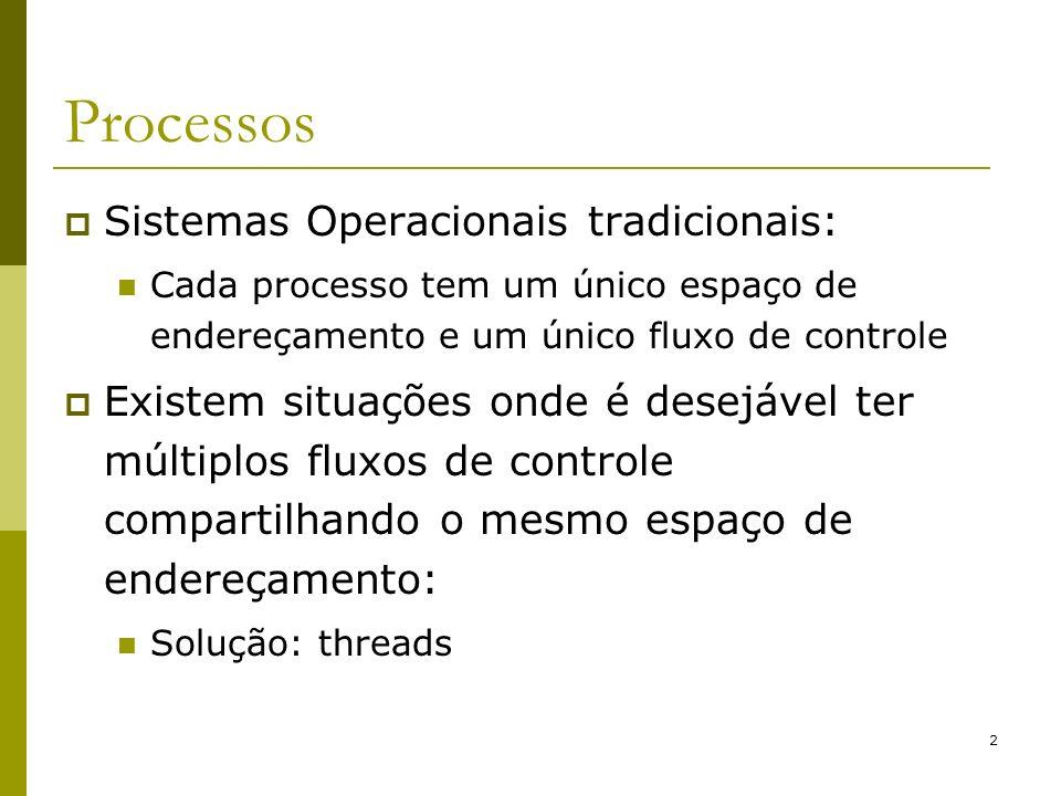 Processos Sistemas Operacionais tradicionais: