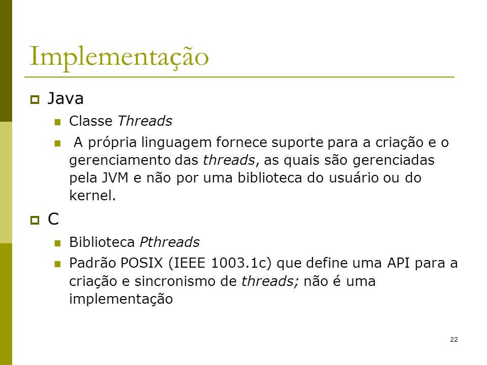 Implementação Java C Classe Threads