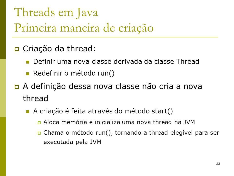 Threads em Java Primeira maneira de criação