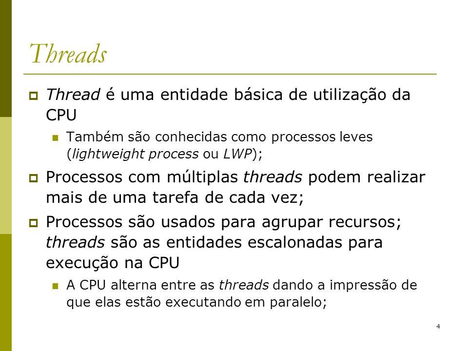 Threads Thread é uma entidade básica de utilização da CPU