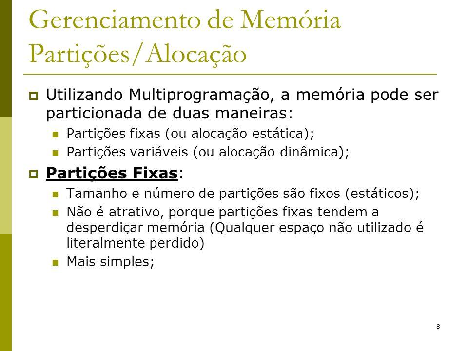 Gerenciamento de Memória Partições/Alocação
