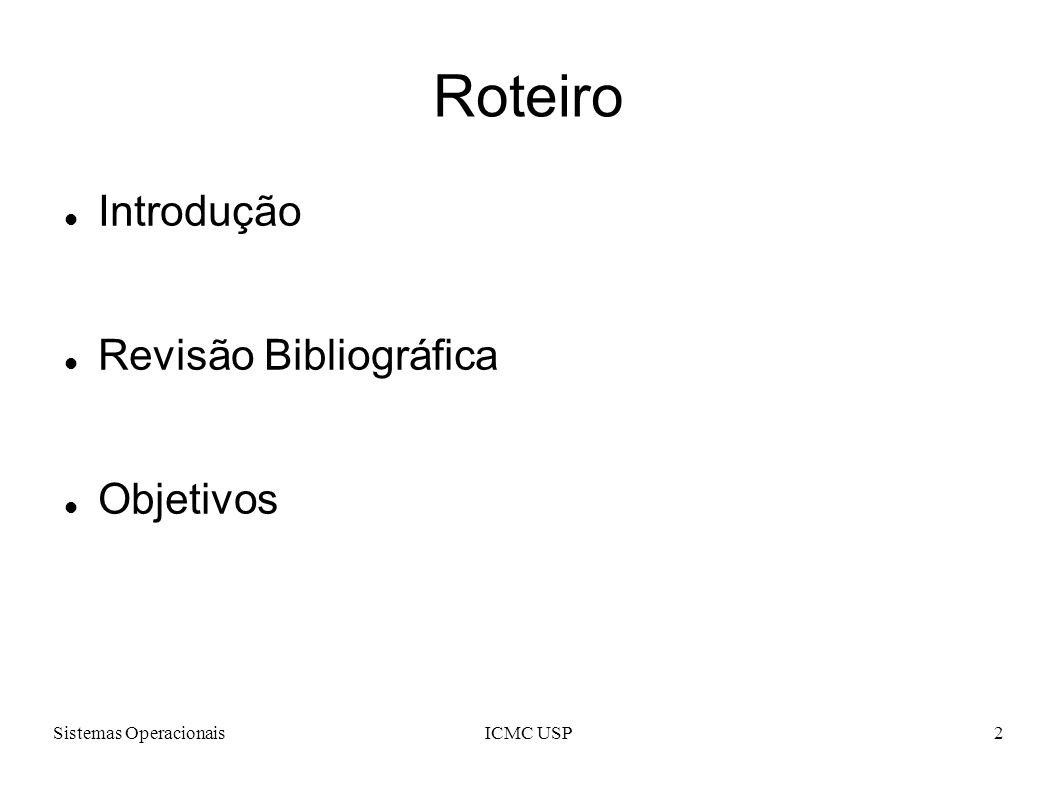 Roteiro Introdução Revisão Bibliográfica Objetivos