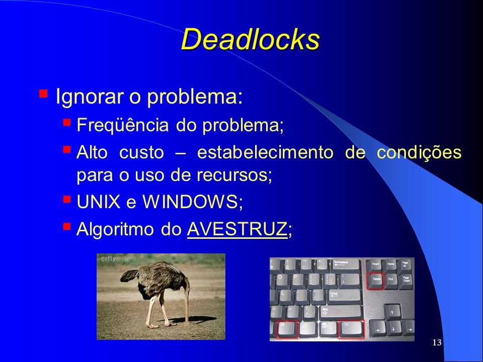 Deadlocks Ignorar o problema: Freqüência do problema;