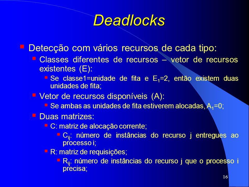 Deadlocks Detecção com vários recursos de cada tipo: