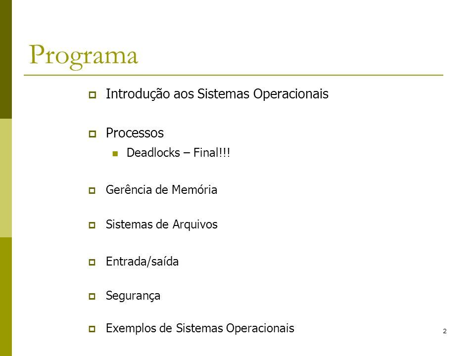 Programa Introdução aos Sistemas Operacionais Processos
