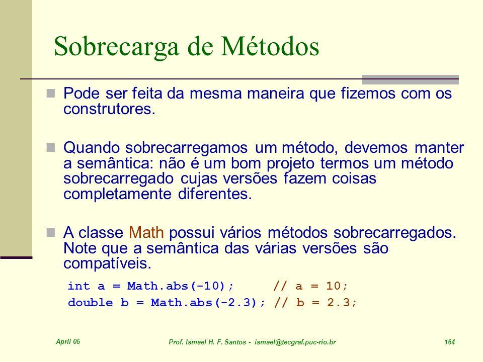 Sobrecarga de Métodos int a = Math.abs(-10); // a = 10;