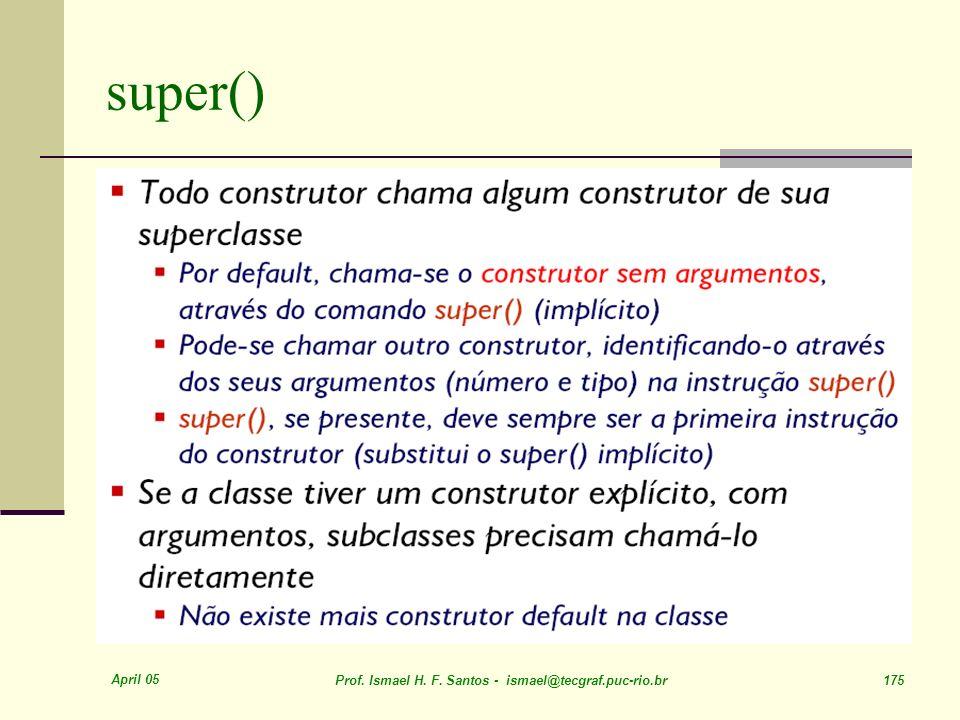 super() April 05. Prof. Ismael H. F.