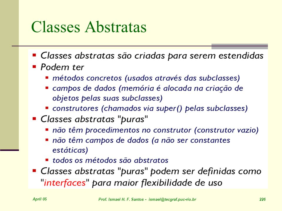 Classes Abstratas April 05
