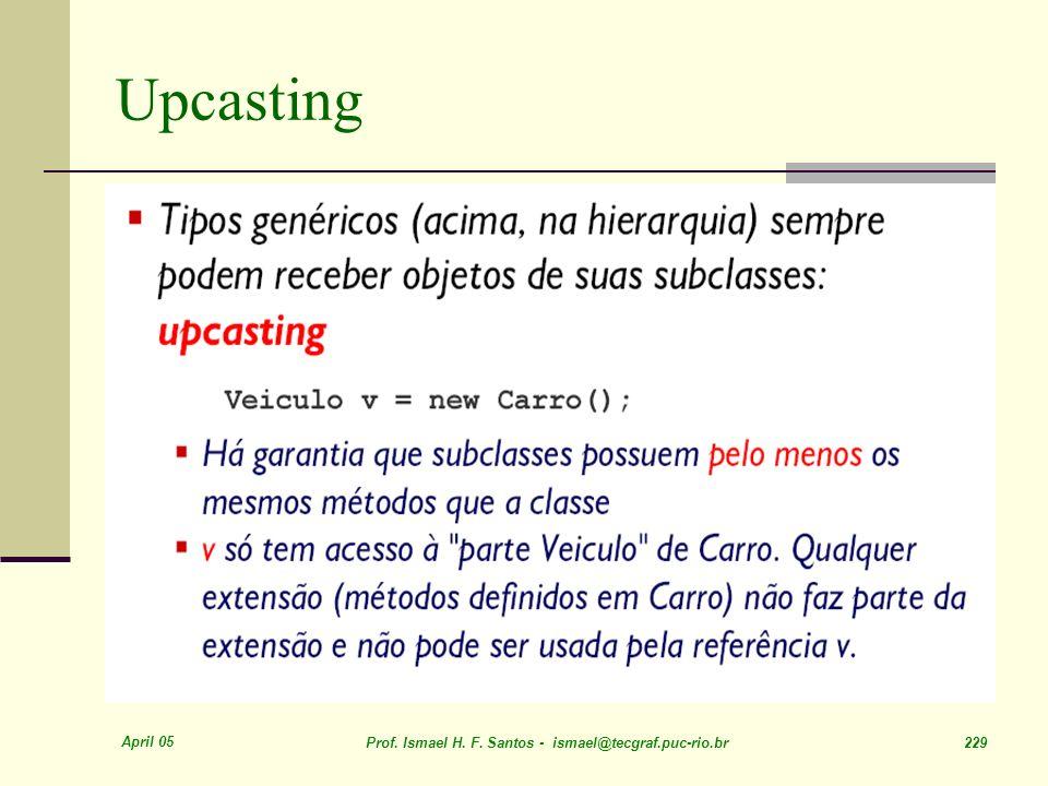 Upcasting April 05. Prof. Ismael H. F.