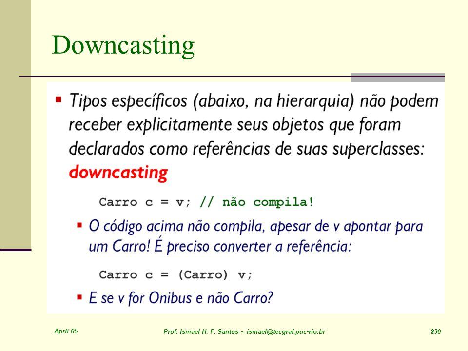 Downcasting April 05. Prof. Ismael H. F.