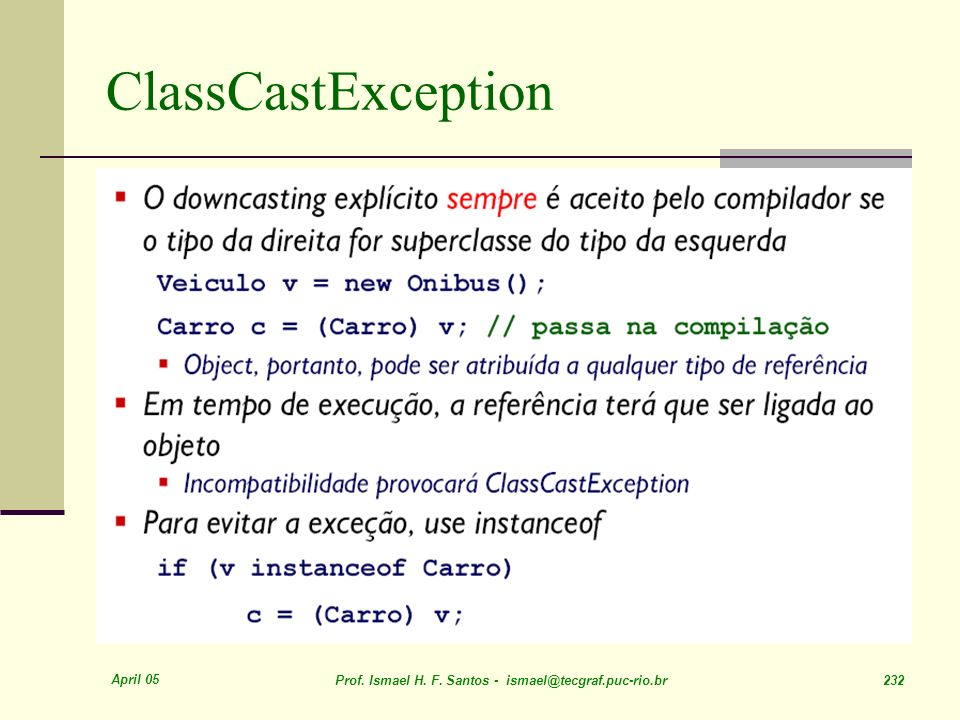 ClassCastException April 05