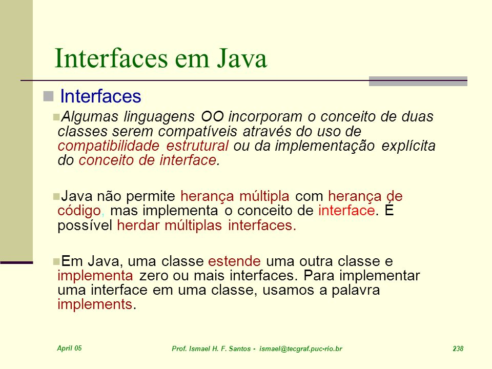 Interfaces em Java Interfaces
