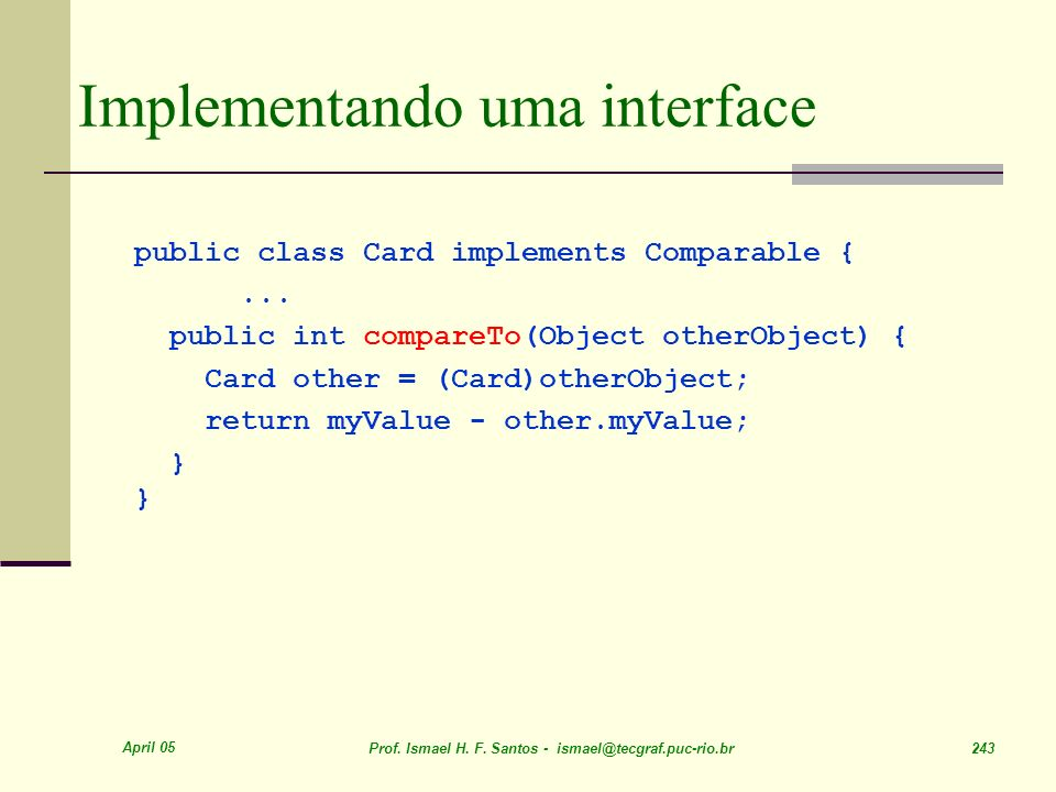 Implementando uma interface