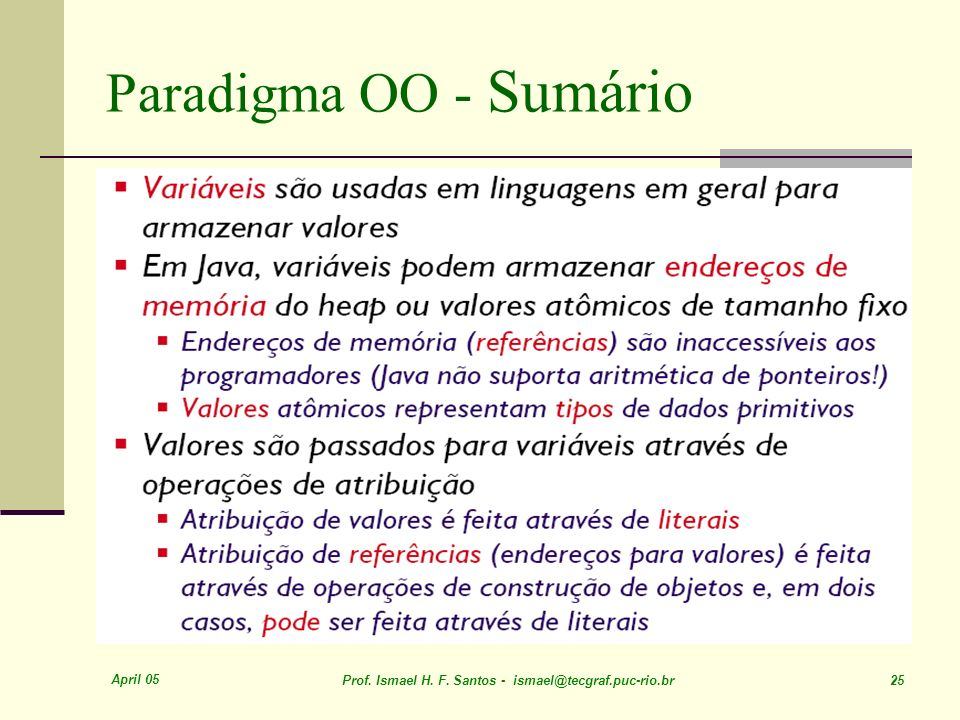 Paradigma OO - Sumário April 05