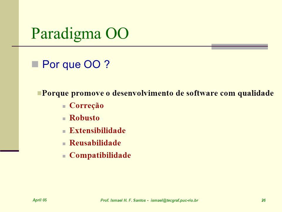 Paradigma OO Por que OO Porque promove o desenvolvimento de software com qualidade. Correção. Robusto.