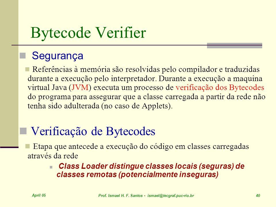 Bytecode Verifier Verificação de Bytecodes Segurança