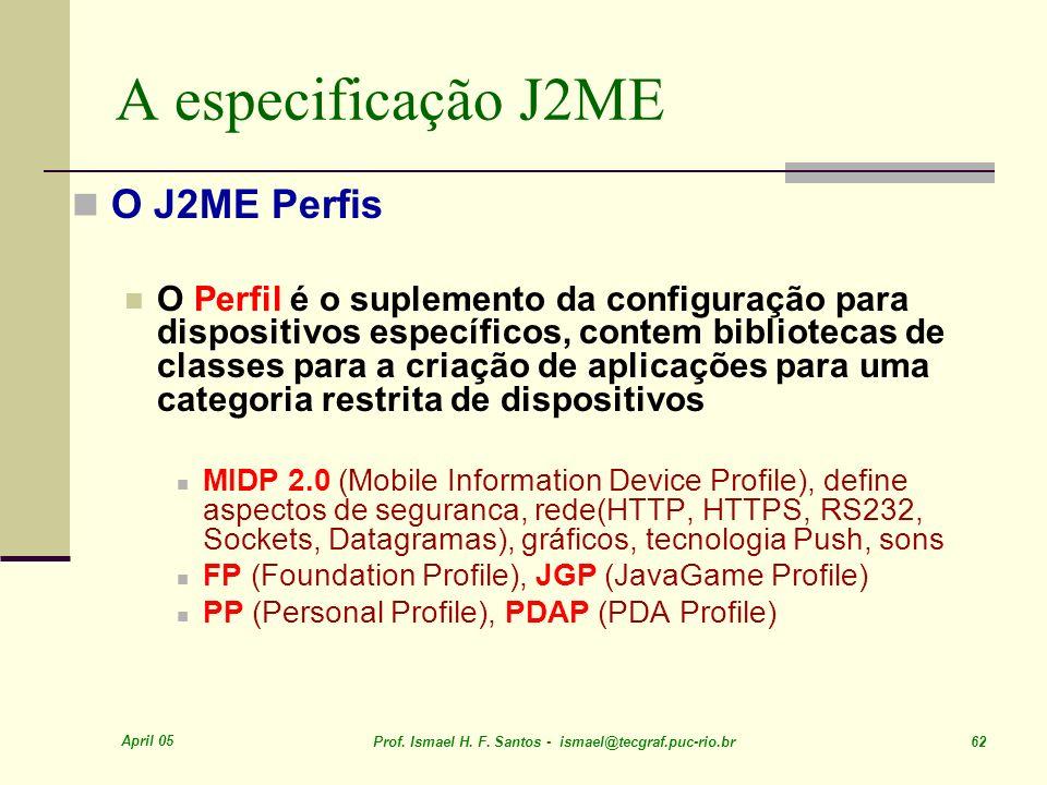 A especificação J2ME O J2ME Perfis