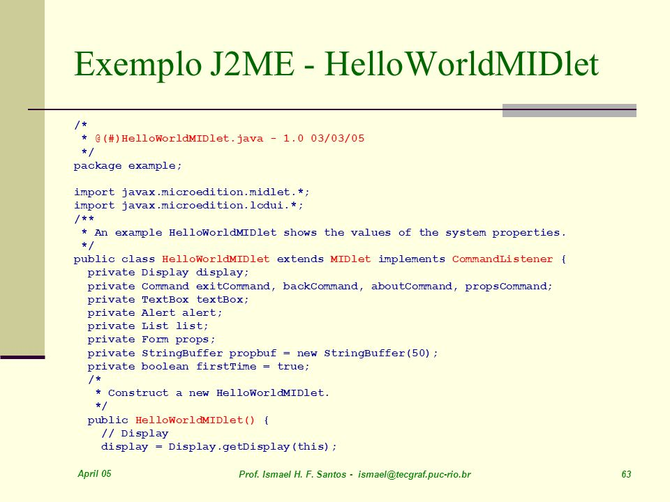 Exemplo J2ME - HelloWorldMIDlet