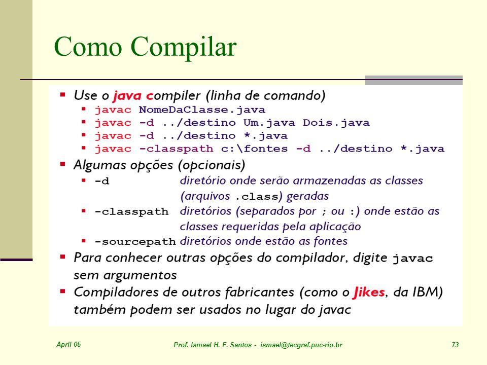 Como Compilar April 05. Prof. Ismael H. F.