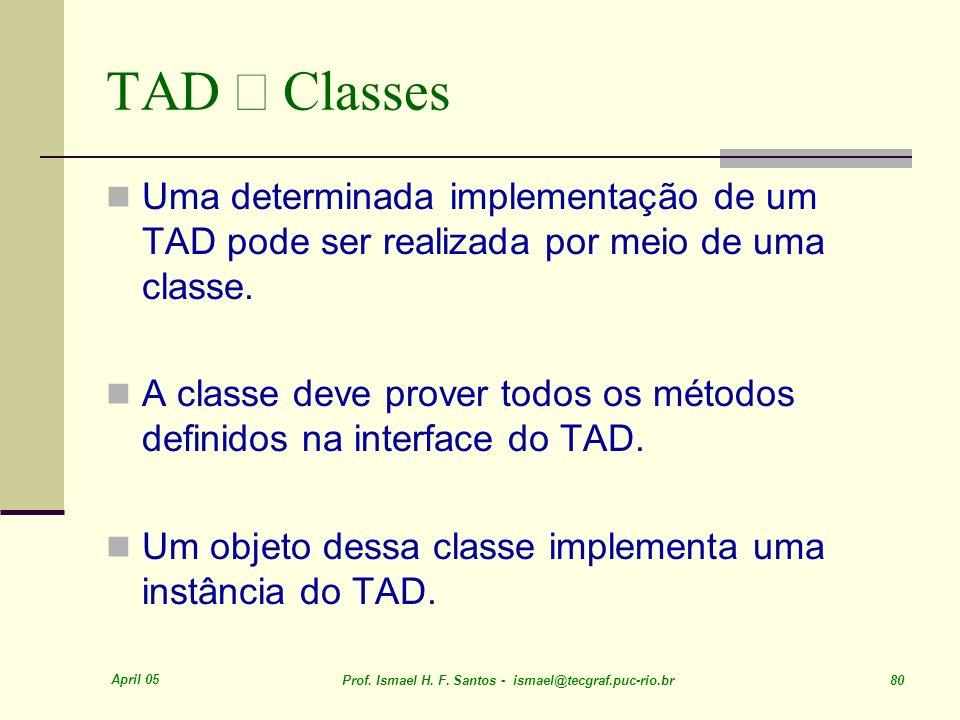 TAD ´ Classes Uma determinada implementação de um TAD pode ser realizada por meio de uma classe.