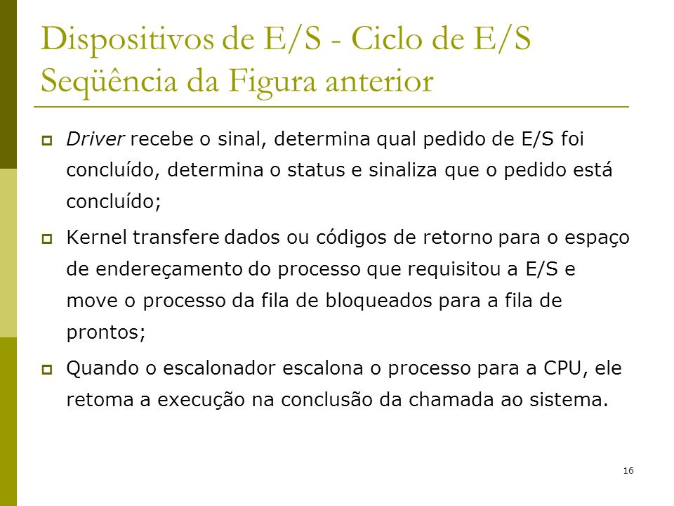 Dispositivos de E/S - Ciclo de E/S Seqüência da Figura anterior
