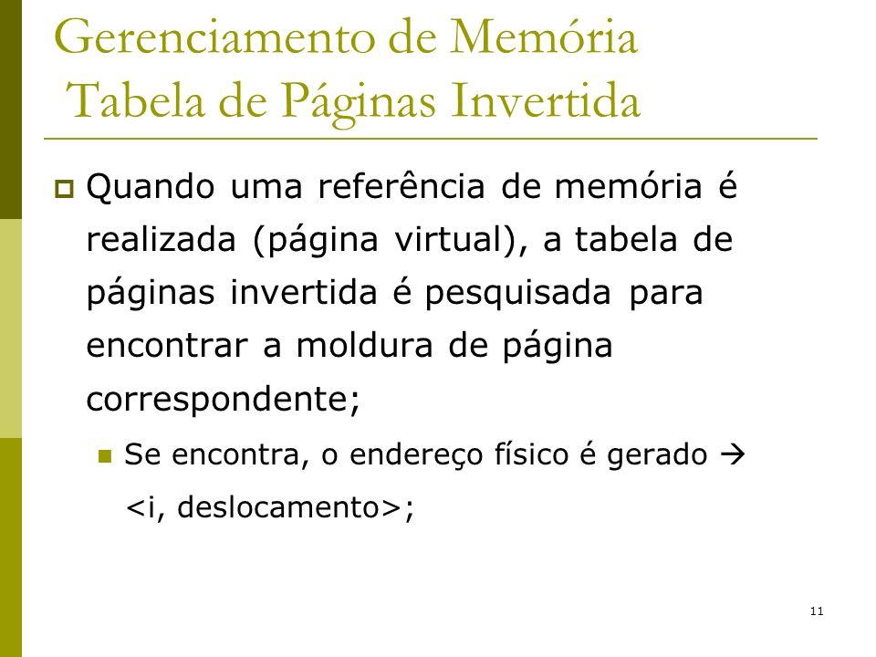 Gerenciamento de Memória Tabela de Páginas Invertida