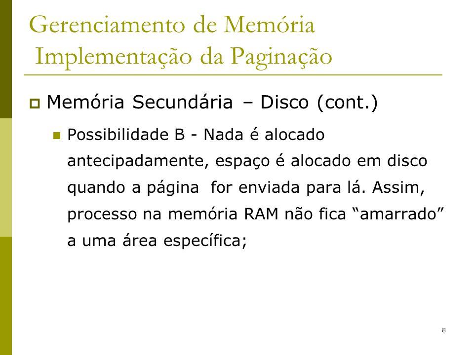Gerenciamento de Memória Implementação da Paginação