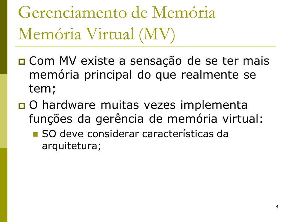Gerenciamento de Memória Memória Virtual (MV)