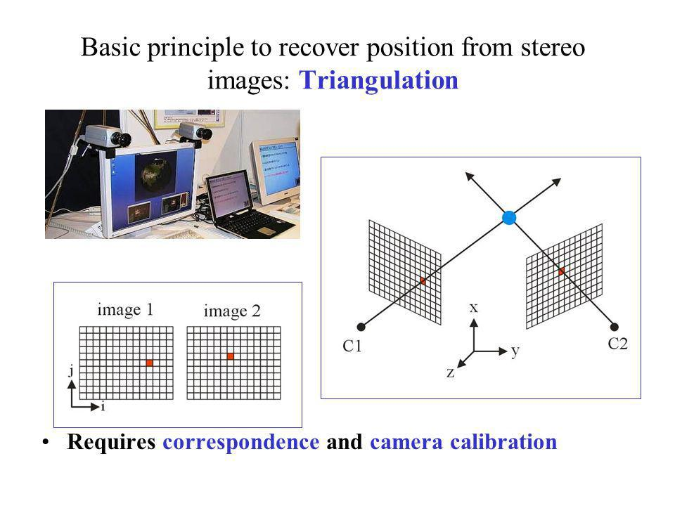 Basic principle to recover position from stereo images: Triangulation