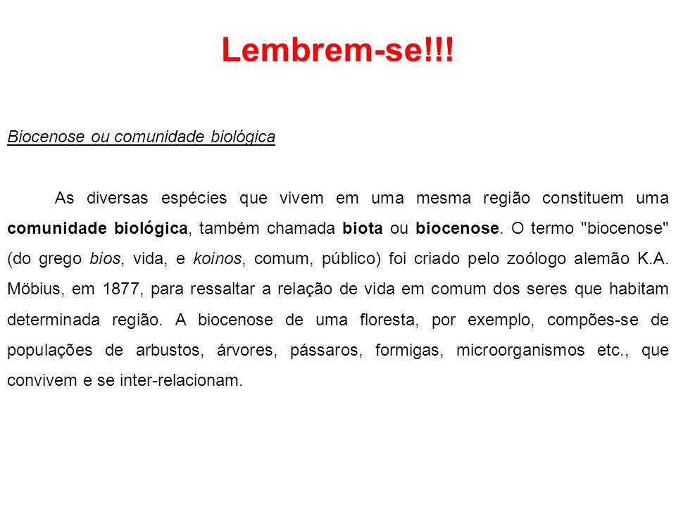 Lembrem-se!!! Biocenose ou comunidade biológica