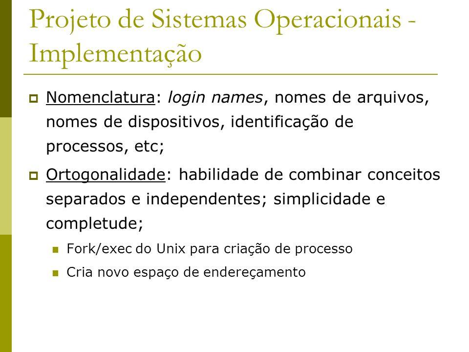 Projeto de Sistemas Operacionais - Implementação