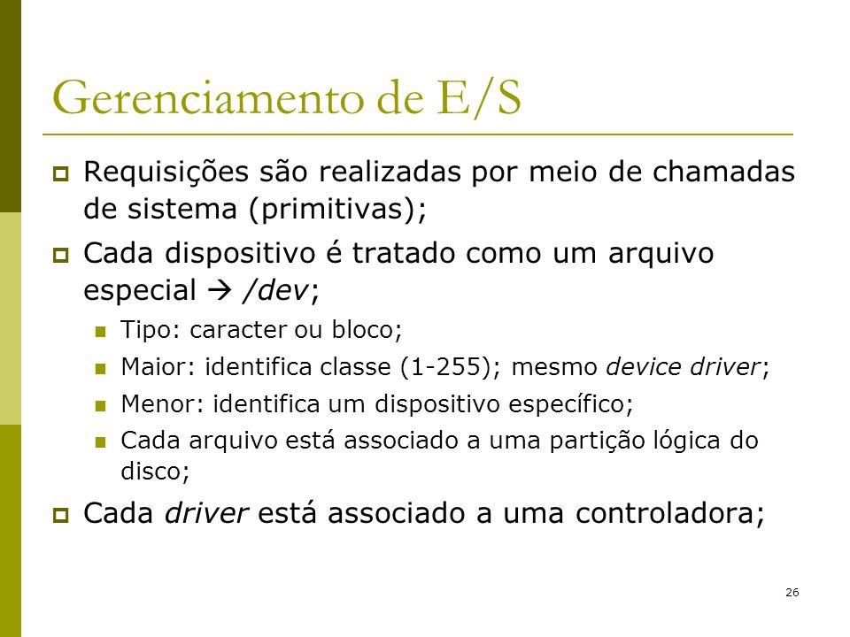 Gerenciamento de E/SRequisições são realizadas por meio de chamadas de sistema (primitivas);