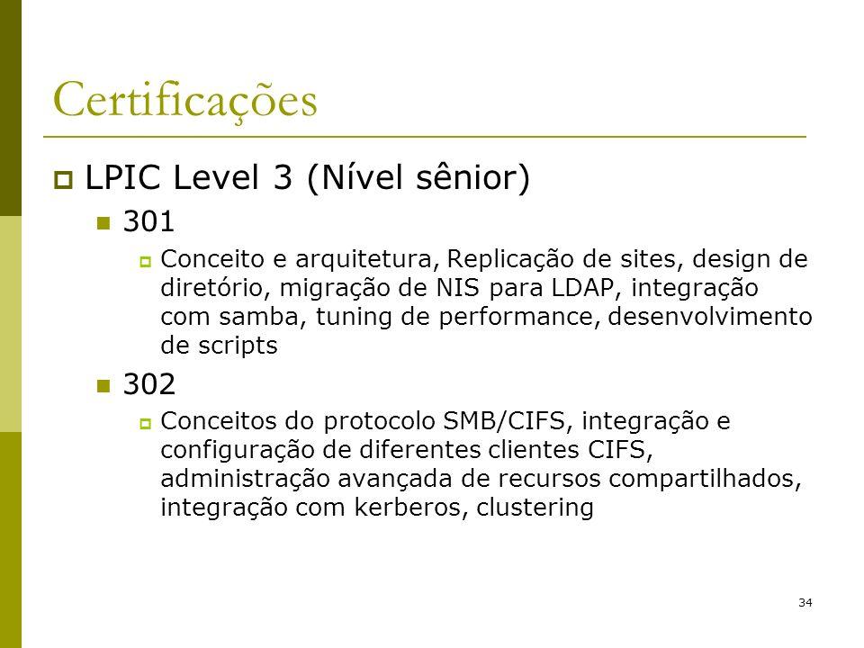 Certificações LPIC Level 3 (Nível sênior) 301 302