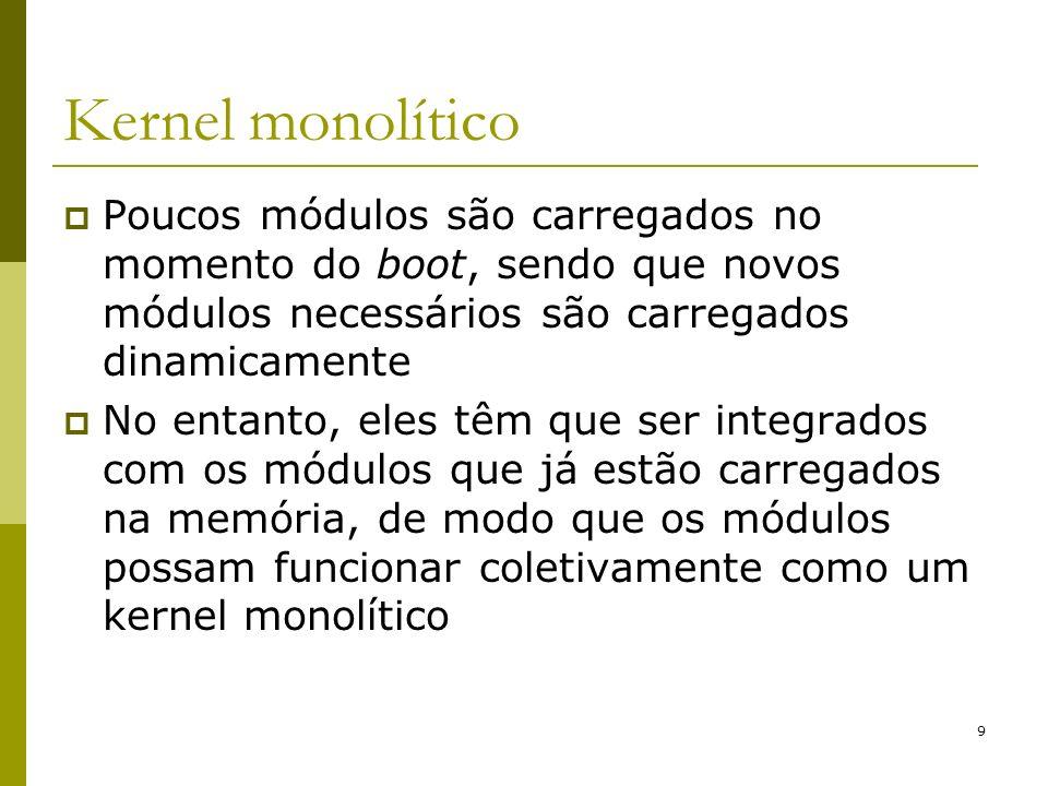 Kernel monolítico Poucos módulos são carregados no momento do boot, sendo que novos módulos necessários são carregados dinamicamente.