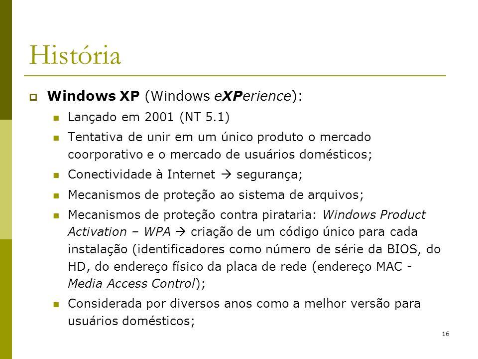 História Windows XP (Windows eXPerience): Lançado em 2001 (NT 5.1)