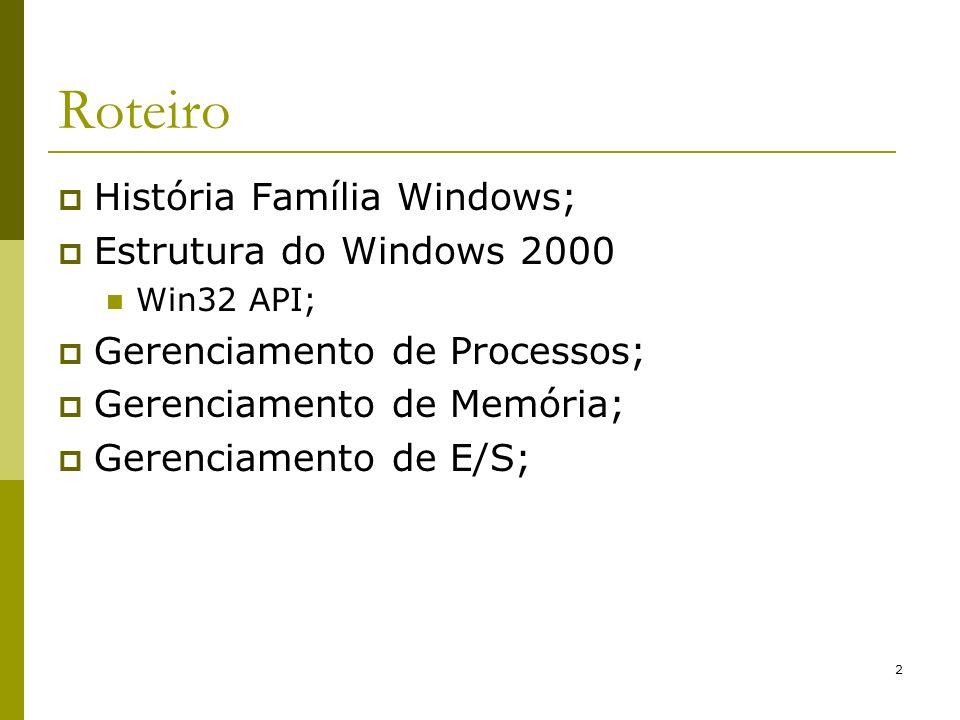 Roteiro História Família Windows; Estrutura do Windows 2000