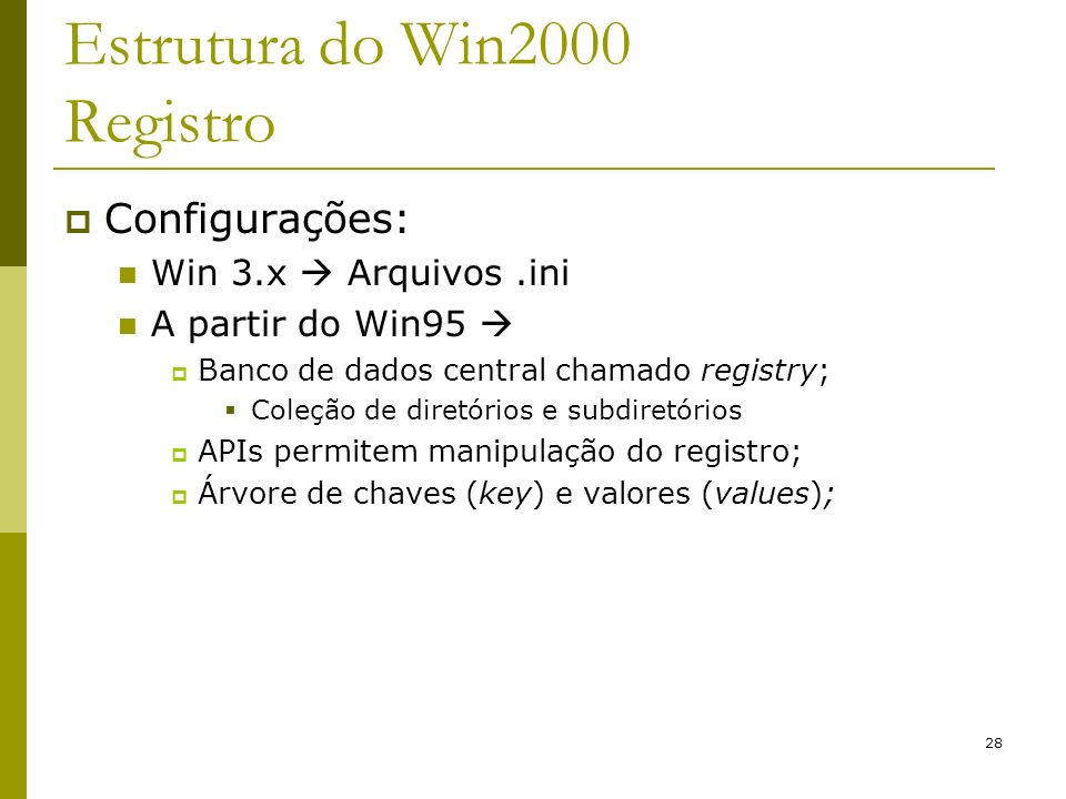 Estrutura do Win2000 Registro