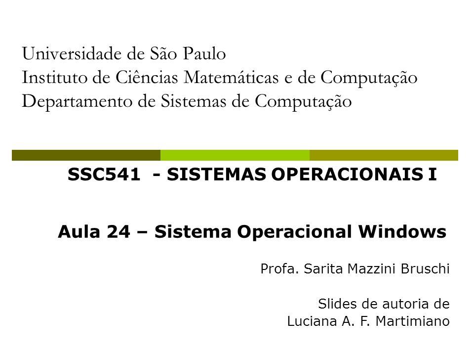 SSC541 - SISTEMAS OPERACIONAIS I Aula 24 – Sistema Operacional Windows