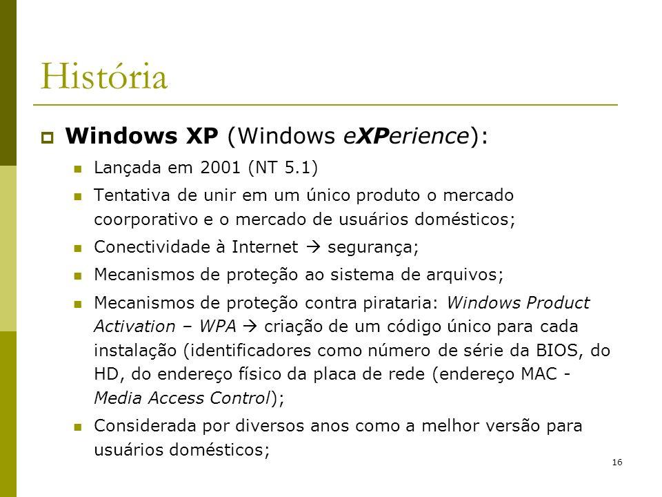 História Windows XP (Windows eXPerience): Lançada em 2001 (NT 5.1)