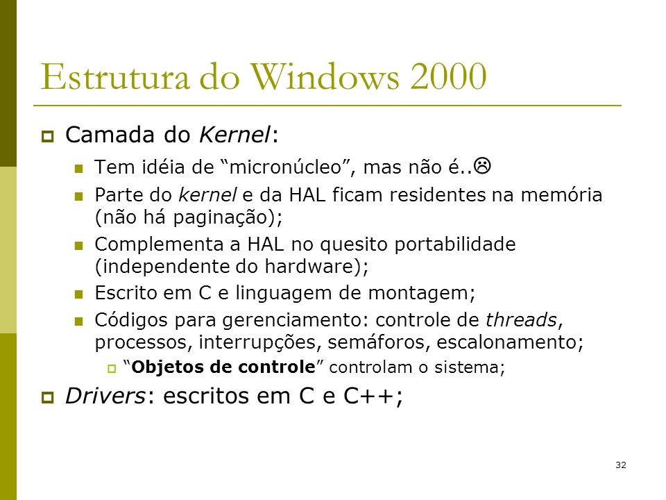 Estrutura do Windows 2000 Camada do Kernel: