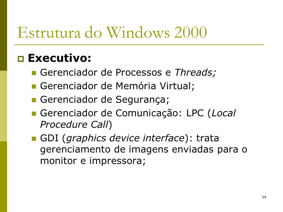 Estrutura do Windows 2000 Executivo: