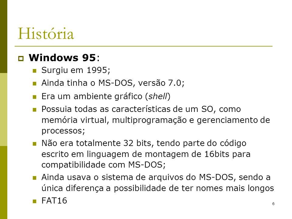 História Windows 95: Surgiu em 1995; Ainda tinha o MS-DOS, versão 7.0;