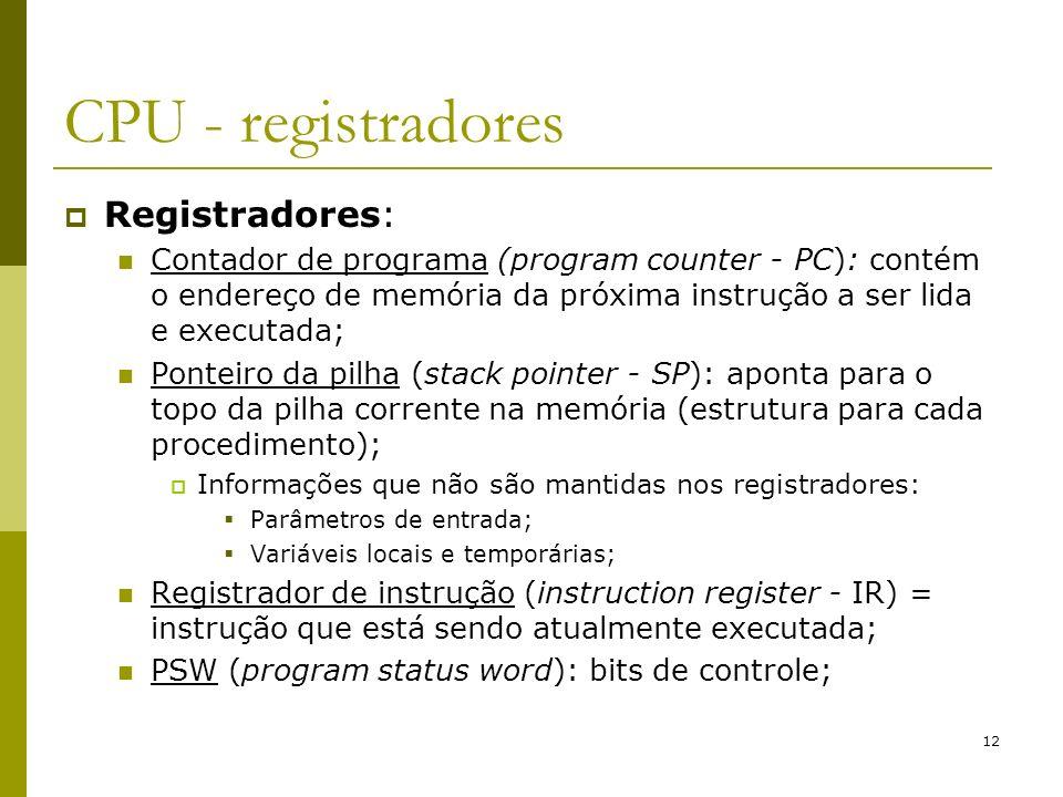 CPU - registradores Registradores: