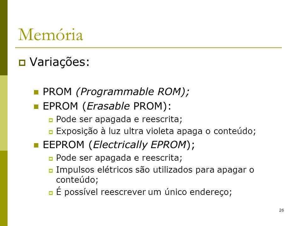 Memória Variações: PROM (Programmable ROM); EPROM (Erasable PROM):