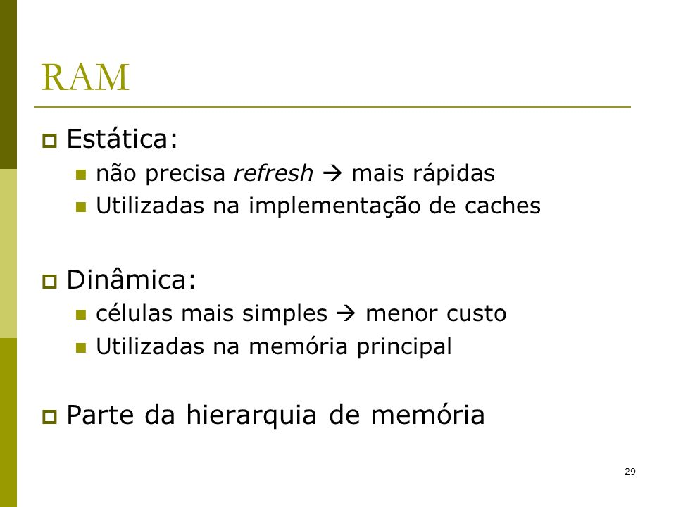 RAM Estática: Dinâmica: Parte da hierarquia de memória