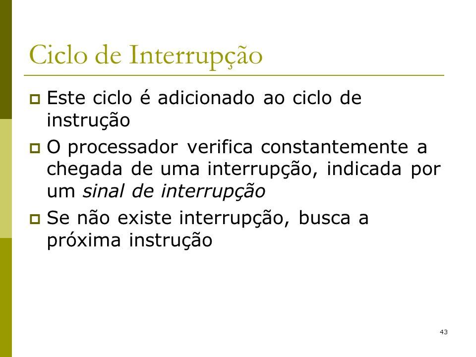 Ciclo de Interrupção Este ciclo é adicionado ao ciclo de instrução