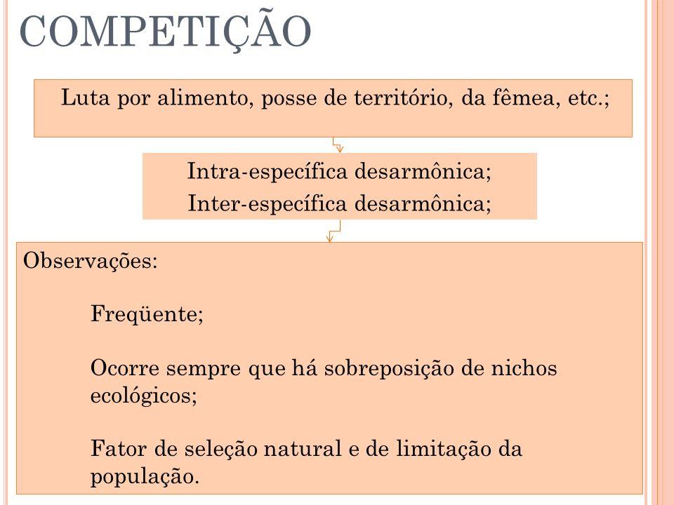 COMPETIÇÃO Luta por alimento, posse de território, da fêmea, etc.;