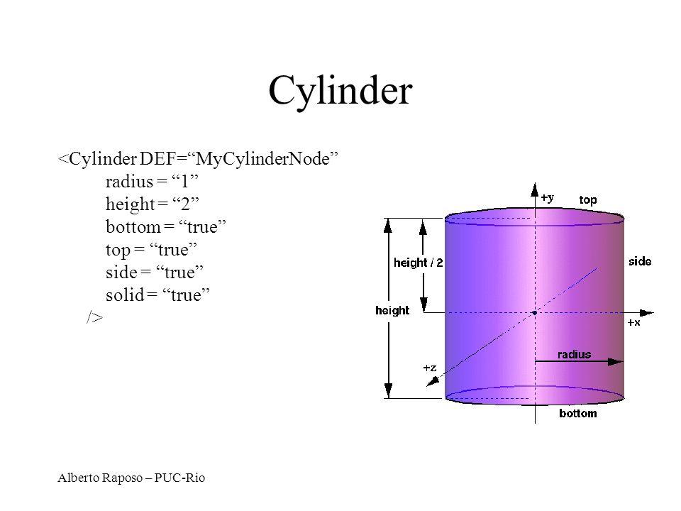 Cylinder <Cylinder DEF= MyCylinderNode radius = 1 height = 2